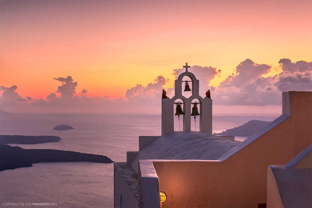 Santorini Church Bells At Sunset